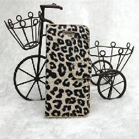 Hot Leopard Pattern Leather Quality Wake Stand Cover case for Iphone 5